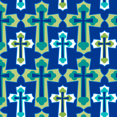 Psalms Set Crosses Navy Cotton Fabric