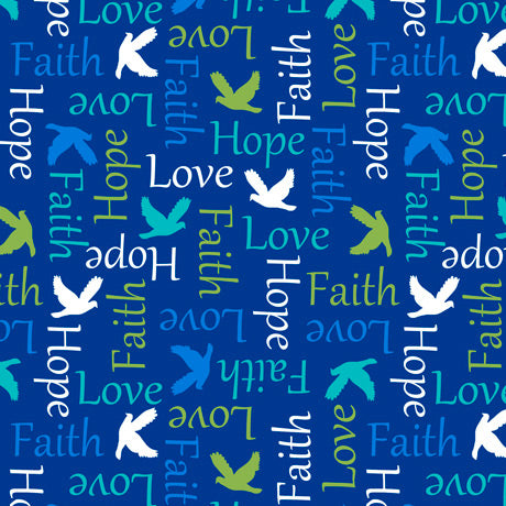 Psalms Inspirational Words Navy Cotton Fabric