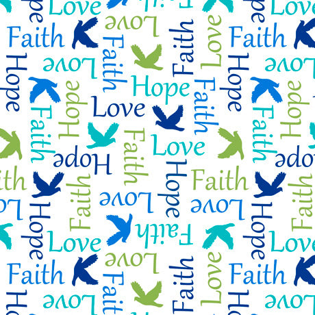 Psalms Inspirational Words White Cotton Fabric
