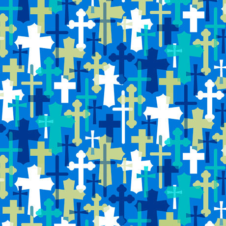 Psalms Overlapping Crosses Blue Cotton Fabric