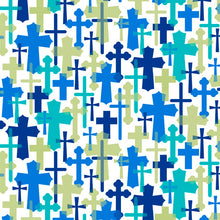 Psalms Overlapping Crosses White Cotton Fabric