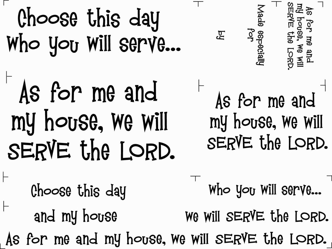 We Will Serve The Lord Joshua 24:15 Fabric Panel