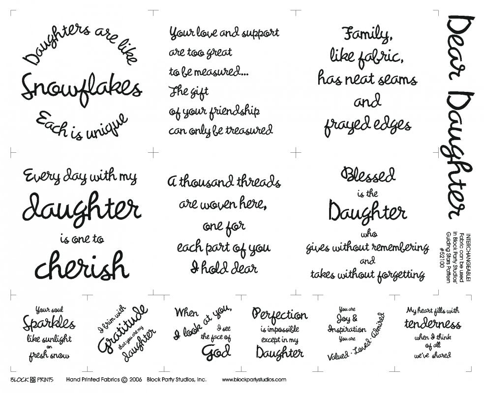 Dear Daughter Charm Squares Fabric Panel