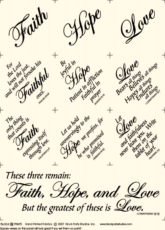 Faith Hope and Love Natural Fabric Panel