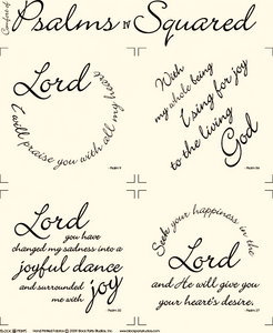 Comfort of Psalms IV Scripture Squares Natural Fabric Panel