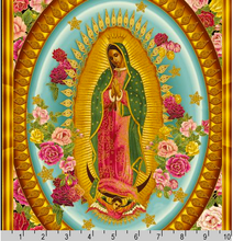 Inner Faith Our Lady of Guadalupe Metallic Blocks Cotton Fabric Panel