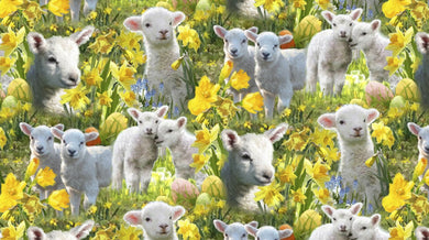 Easter Lambs Allover Cotton Fabric