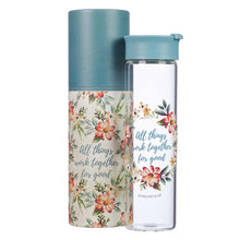 All Things Work Together For Good Romans 8:28 Glass Water Bottle