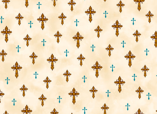 Amazing Grace Cream Crosses Cotton Fabric