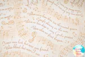 Amazing Grace Lyrics & Music Cream Cotton Fabric