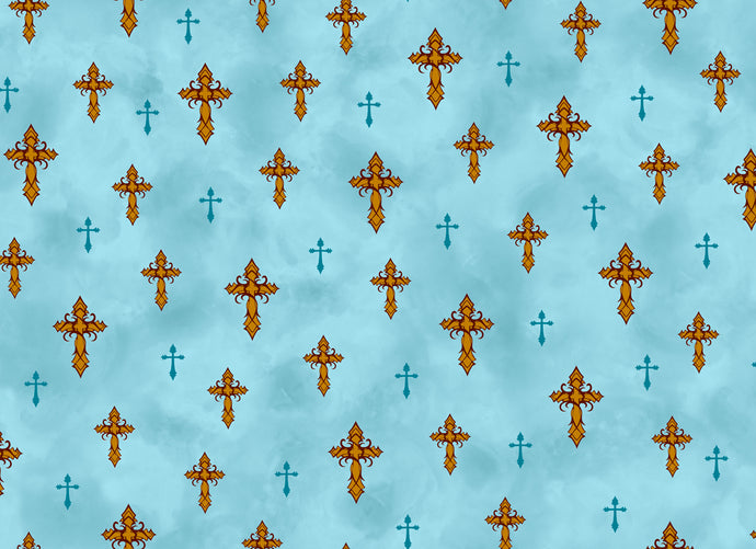 Amazing Grace Light Teal Crosses Cotton Fabric