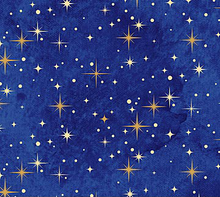 Angels Above Christmas Stars Royal Blue Cotton Fabric