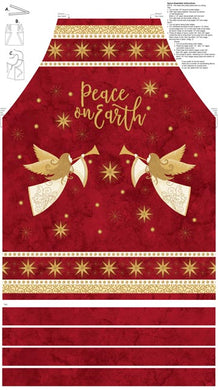 Angels Above Peace on Earth Christmas Red Cotton Apron Fabric Panel