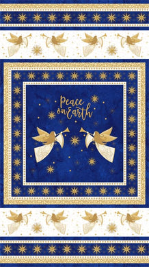 Angels Above Peace on Earth Christmas Royal Blue Cotton Fabric Panel