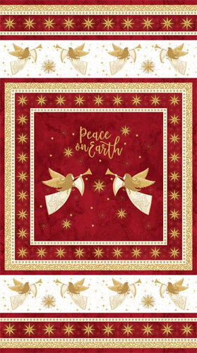 Angels Above Peace on Earth Christmas Red Cotton Fabric Panel