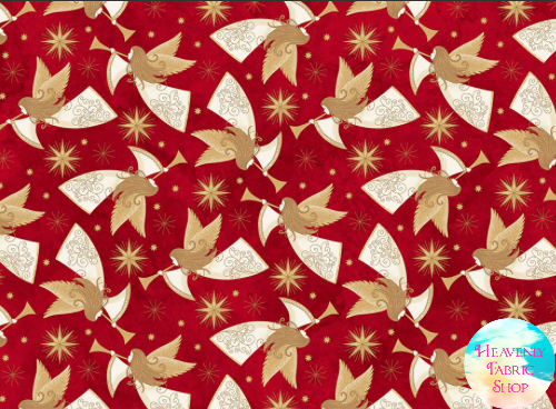 Angels Above Peace on Earth Christmas Red Cotton Fabric