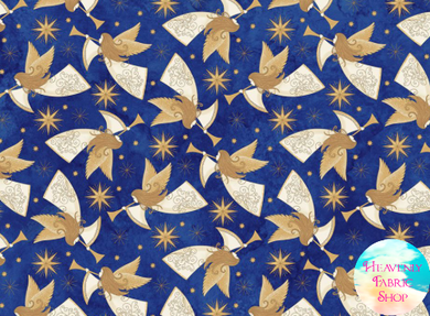 Angels Above Peace on Earth Christmas Royal Blue Cotton Fabric