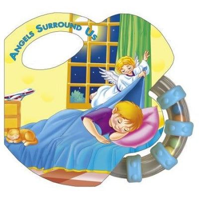 Angels Surround Us Board Book Rattle