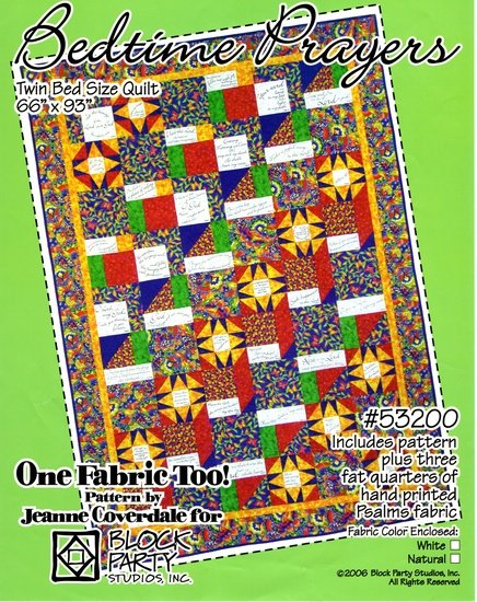 Bedtime Prayers Twin Bed Quilt Pattern & Fabric Trio Panel Kit