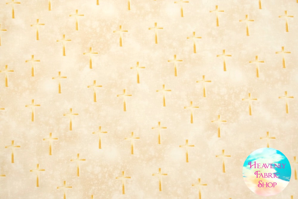Heaven Sent Luminated Cross Tan Cotton Fabric