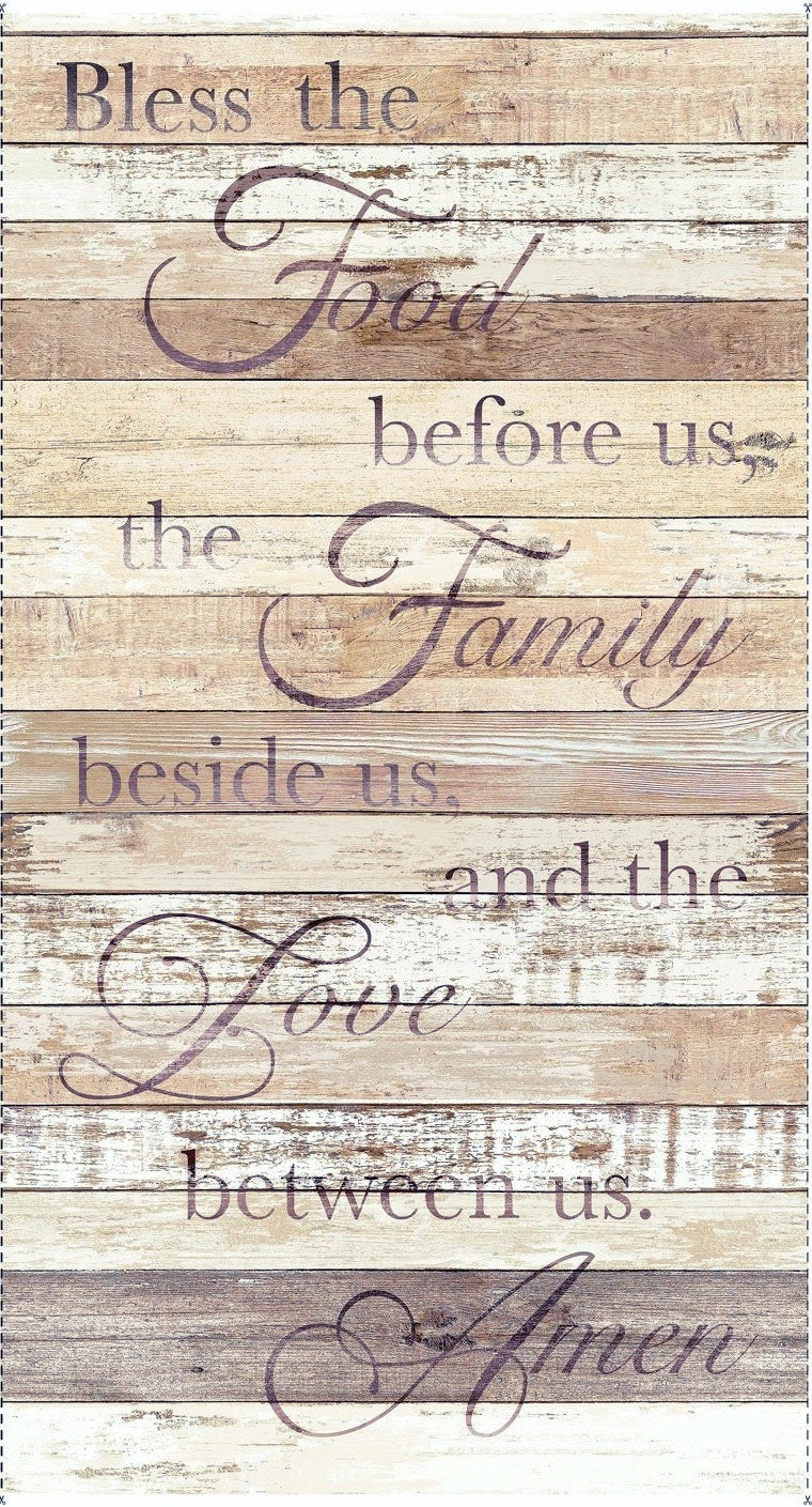 Bless This Food Prayer Weathered Wood Shiplap Cotton Fabric Panel