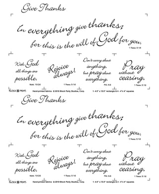 Give Thanks Scripture Verse Fabric Panel