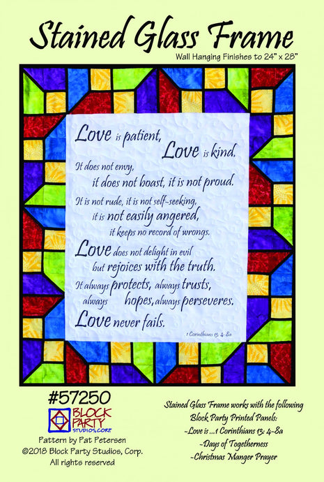 Stained Glass Love Is 1 Corinthians 13 Quilt Pattern & Fabric Panel Kit
