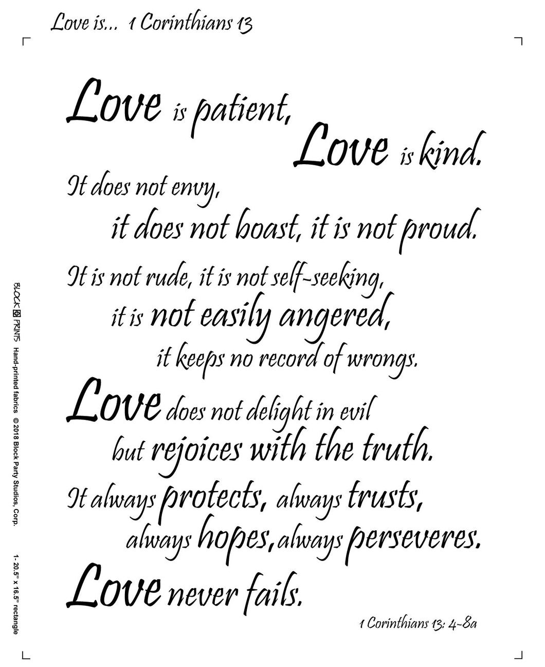 Love Is 1 Corinthians 13 Fabric Panel