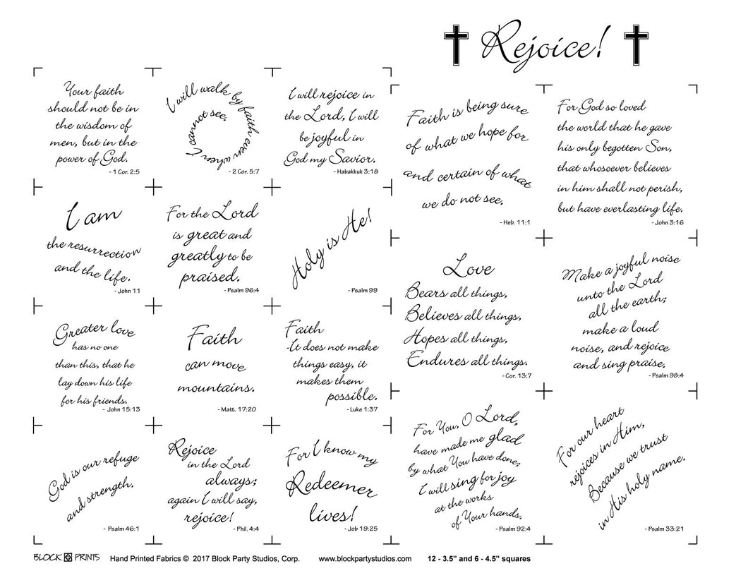Rejoice Scripture Squares Fabric Panel