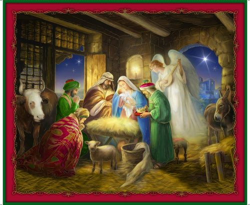 Born Is The King Nativity Cotton Fabric Panel