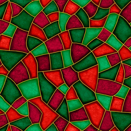 Born Is The King Red Green Stained Glass Cotton Fabric