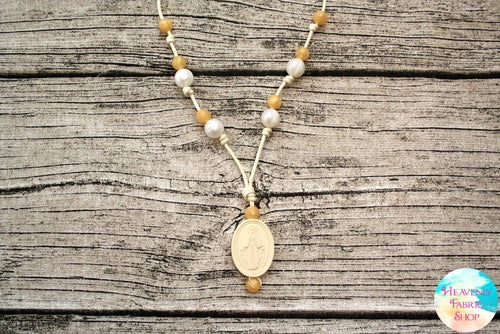 Chews Life Pearl and Gold Silicone Miraculous Medal Mama Necklace