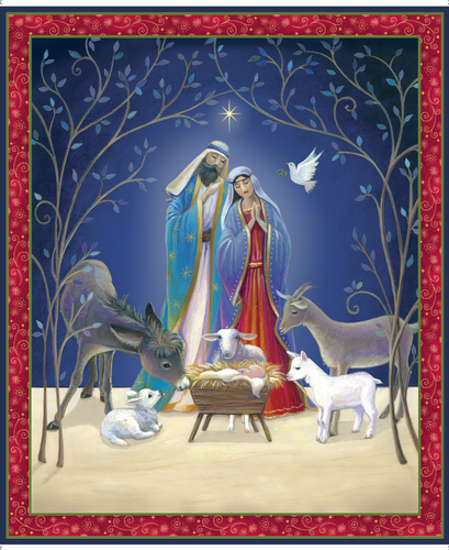 Christ Is Born Nativity Cotton Fabric Panel