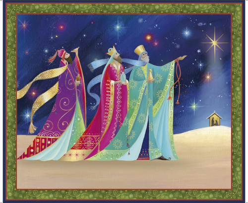 Christ Is Born Three Kings Cotton Fabric Panel