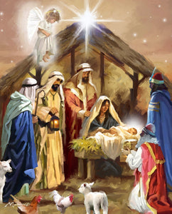 Away In A Manger Nativity Cotton Fabric Panel