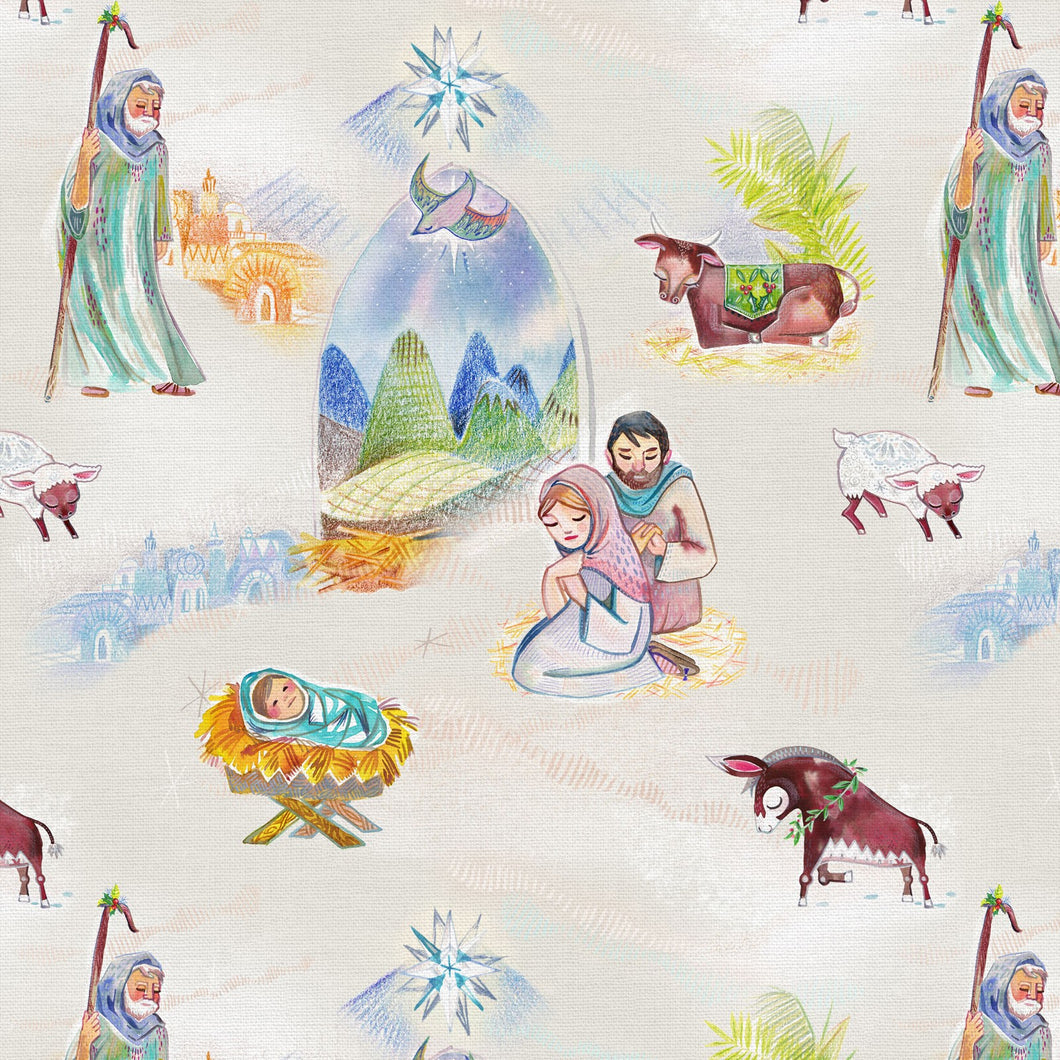 Christmas Peace Nativity Cotton Fabric