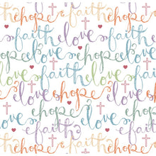 Faith Hope Love Multi Anti-Pill Fleece Fabric