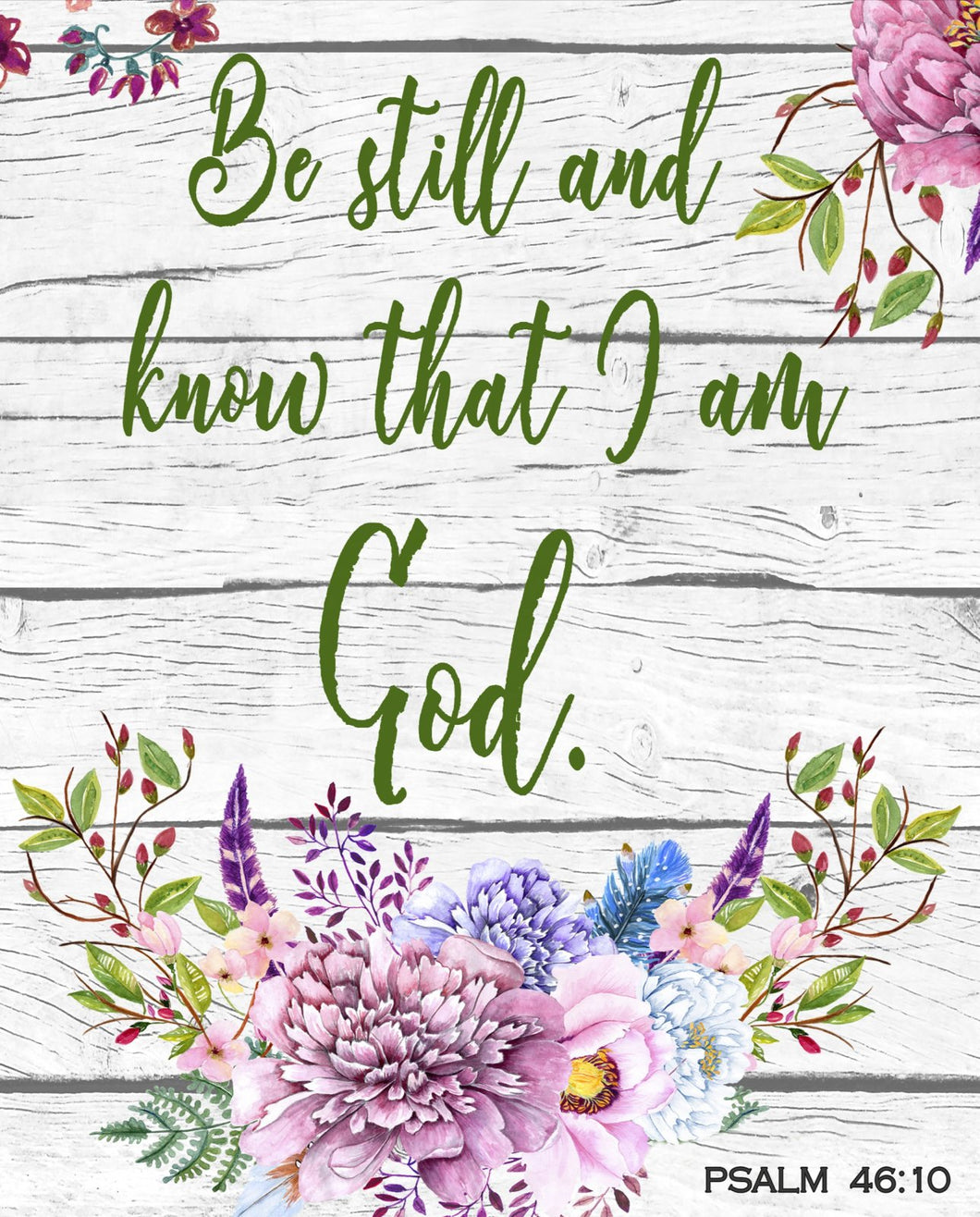 Be Still And Know Psalm 46:10 Large Cotton Fabric Panel