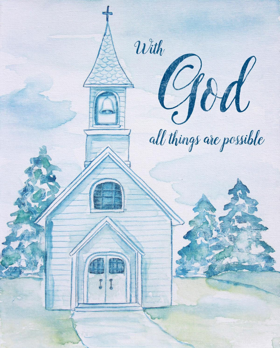 With God All Things Are Possible Large Cotton Fabric Panel