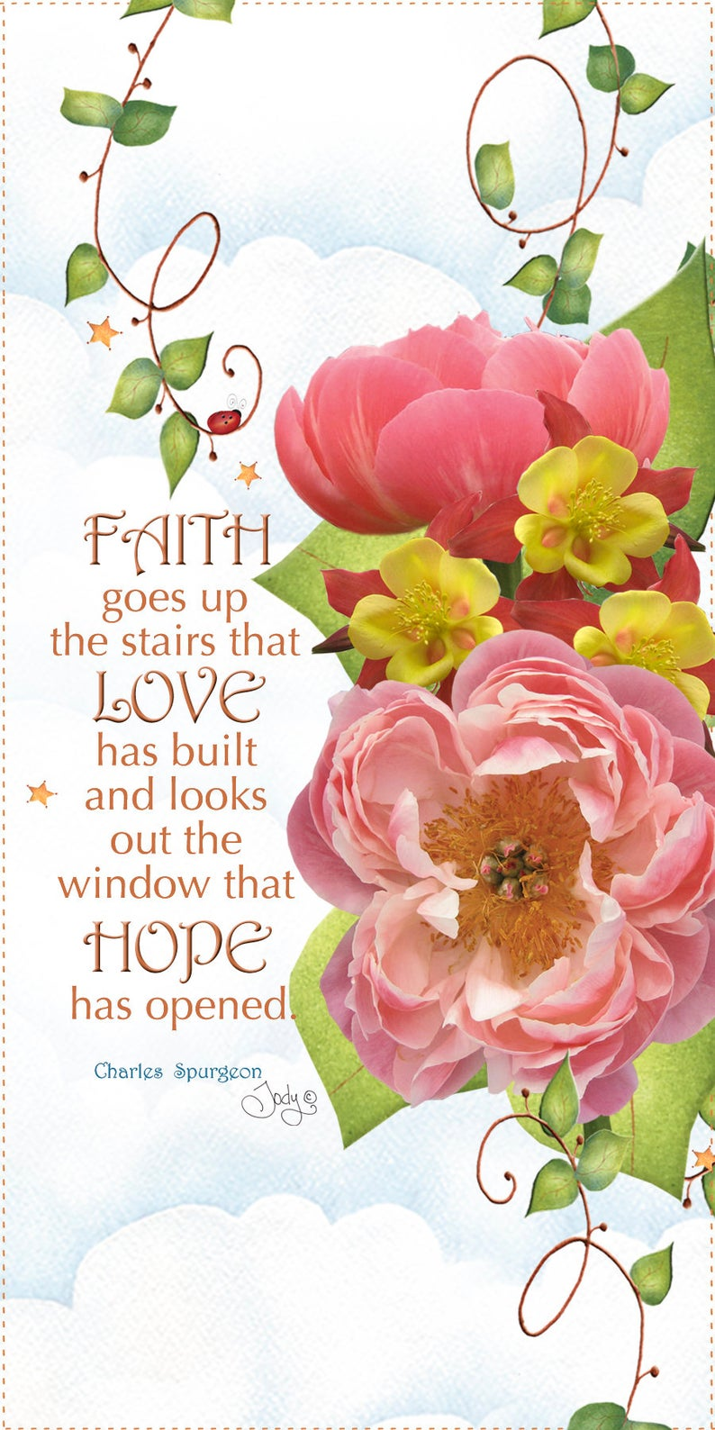 Faith Love Hope 6x12 inch Mini Fabric Art Panel