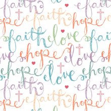Faith, Hope, Love Multi Color Cotton Fabric