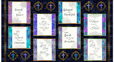 Faith Religious Picture Patches Navy Cotton Fabric Panel