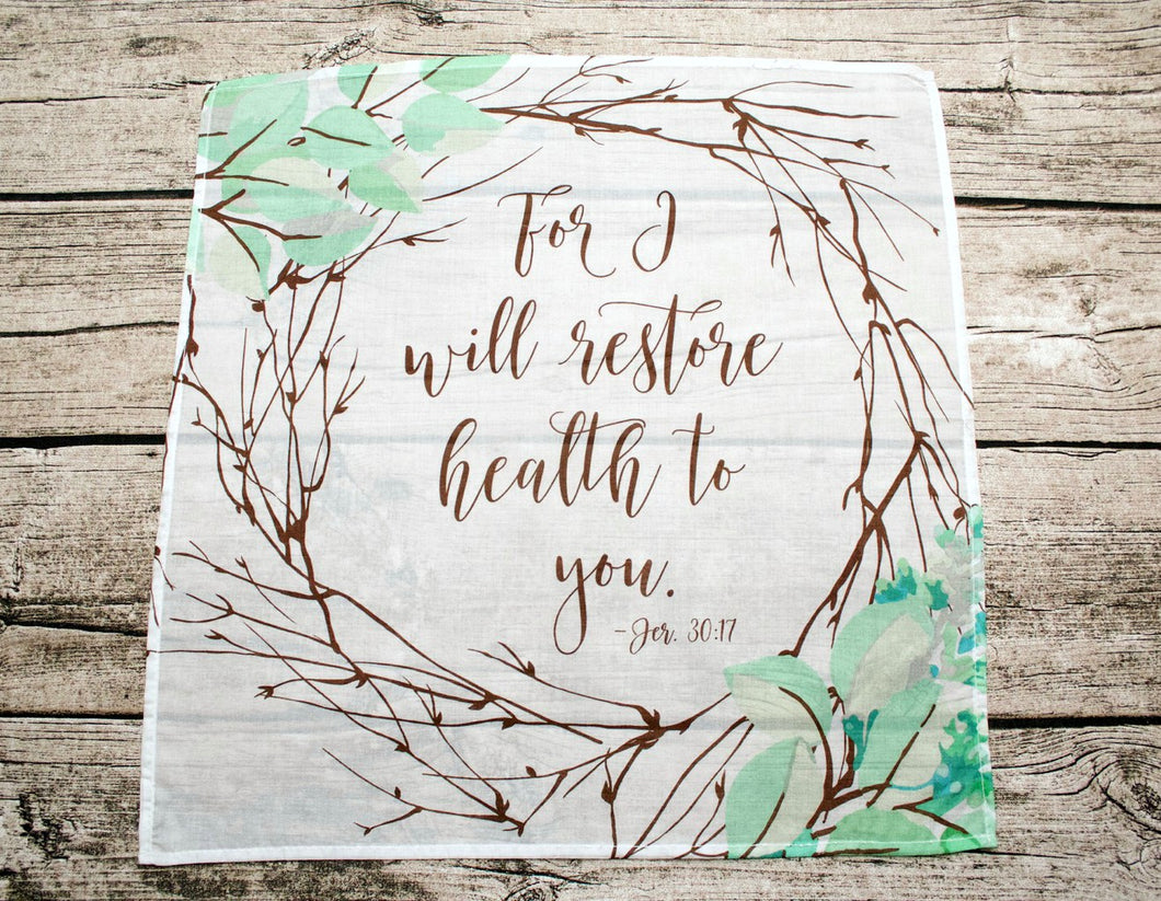 For I Will Restore Health To You Prayer Cloth Cotton Mini Fabric Panel