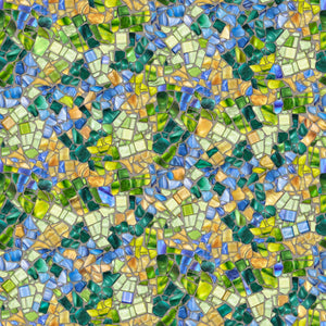 Glass Menagerie Mosaic Blue Green Cotton Fabric
