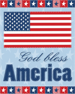 God Bless America Stars and Stripes Cotton Fabric Panel