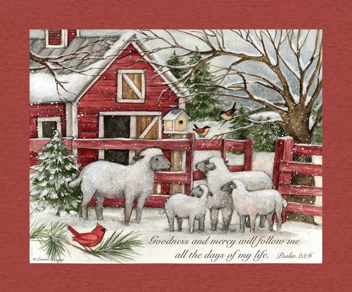 The Lord is My Shepherd Psalm 23:6 Winter Sheep Cotton Fabric Panel