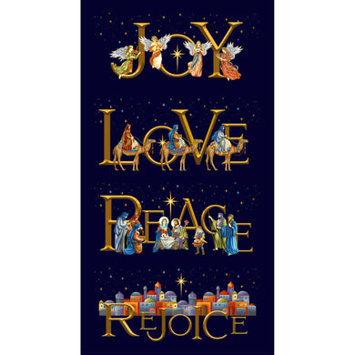Silent Night Nativity Joy Love Peace Rejoice Gold Metallic Cotton Fabric Panel