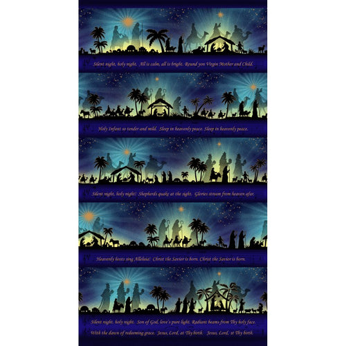 Silent Night Nativity Stripe Gold Metallic Cotton Fabric Panel