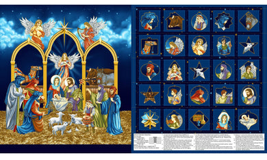 Silent Night Nativity Gold Metallic Advent Calendar Cotton Fabric Panel