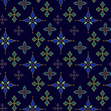 Silent Night Star Foulard Cross Midnight Blue Gold Metallic Cotton Fabric